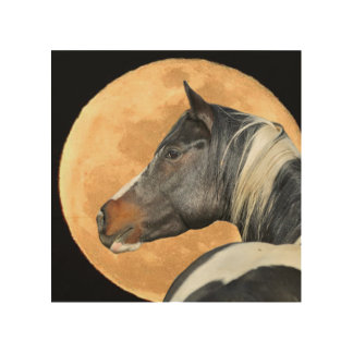 42Paint Horse and Fulloon Wood Art