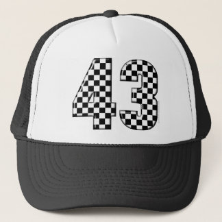 43 checkered number trucker hat