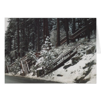 43. Staircases in the Snow, Donner Lake, CA Greeting Card