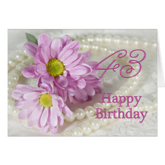 43rd Birthday card with daisies