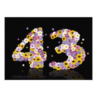 43rd Birthday party with flowered letters Invite