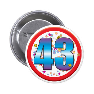 43rd Birthday v2 6 Cm Round Badge