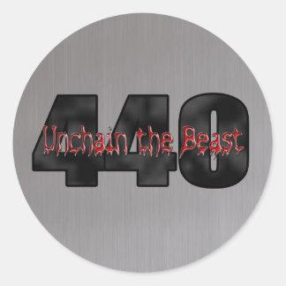 440 Mopar Beast brushed steel Round Sticker