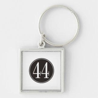#44 Black Circle Silver-Colored Square Key Ring