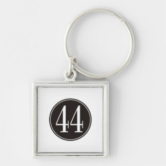 #44 Black Circle Silver-Colored Square Key Ring