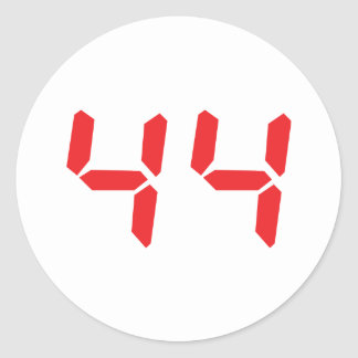 44 fourty-four red alarm clock digital number round sticker