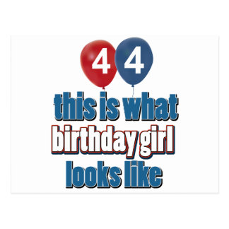 44 year old birthday girl designs postcard