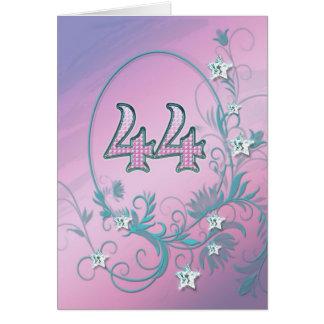 44th Birthday card with diamond stars