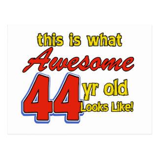 44th birthday designs postcard