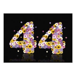 44th Birthday party with flowered letters Announcement