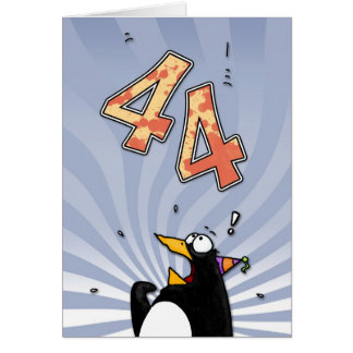 44th Birthday - Penguin Surprise Card