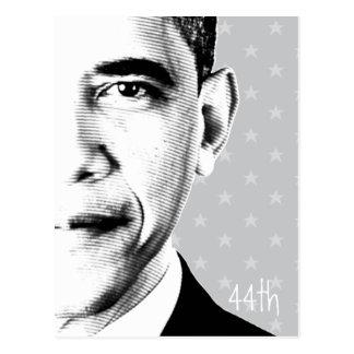 44th - Obama with stars b-w - Postcard