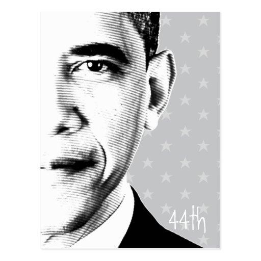44th - Obama with stars (b-w) - Postcard