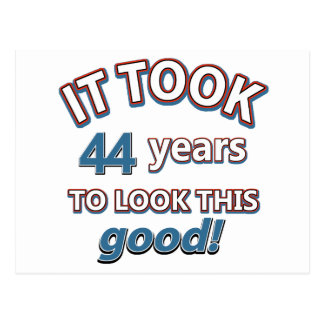 44th year birthday designs postcard
