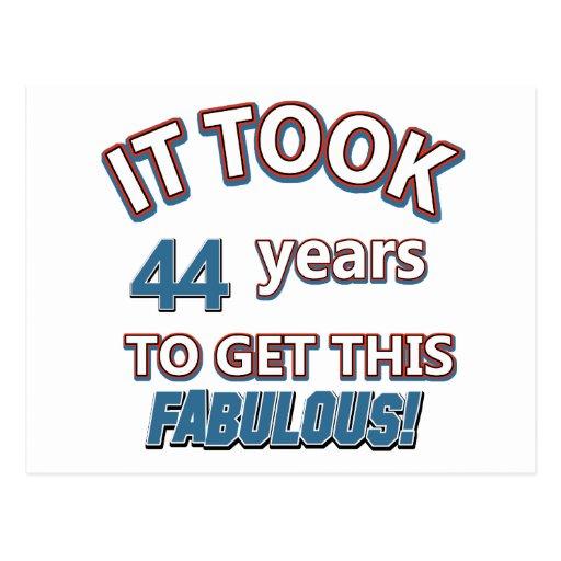 44th year birthday designs post cards