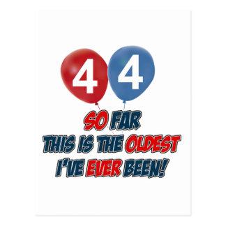 44th year old birthday design postcard