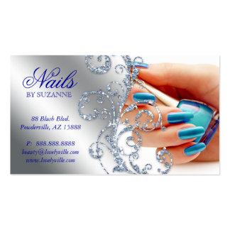 455 Nail Salon Business Card Glitter Blue Silver