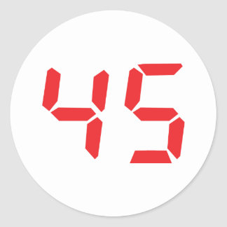 45 fourty-five red alarm clock digital number round sticker