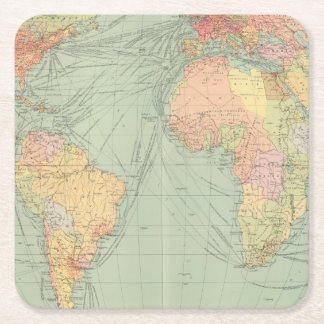 45 lines of communication, Atlantic Ocean Square Paper Coaster