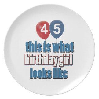 45 year old birthday girl designs plate