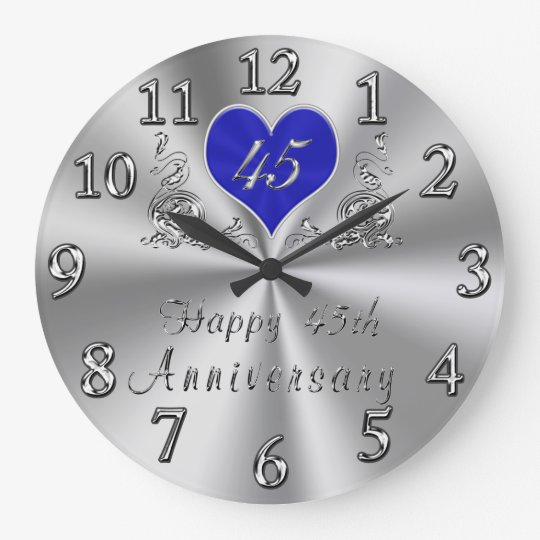 45 Year Wedding Anniversary Gifts Sapphire CLOCK Zazzle