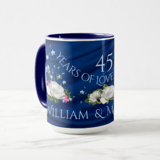 45 Years of Love Anniversary White Roses Custom Mug