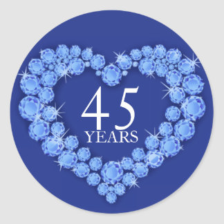 45 years sapphire heart blue & white sticker