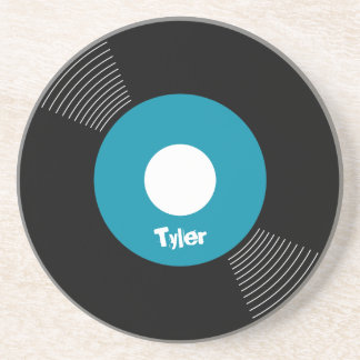 45s Record Coaster (Teal) CUSTOMIZABLE