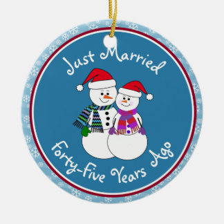 45th Anniversary Gift Fun Snow Couple Christmas Christmas Ornament