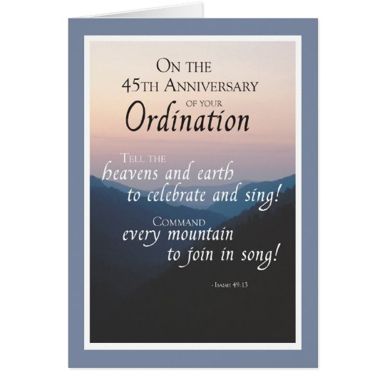 45th Anniversary of Ordination Congratulations Card