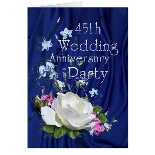 45th Anniversary Party White Rose Card