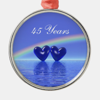45th Anniversary Sapphire Hearts Christmas Ornament