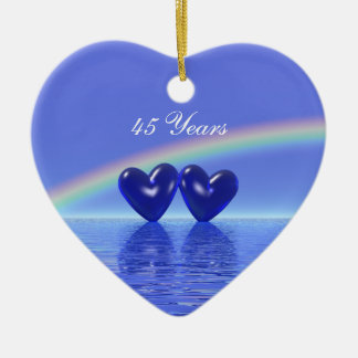 45th Anniversary Sapphire Hearts Christmas Ornament