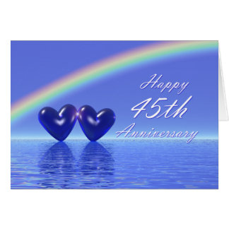 45th Anniversary Sapphire Hearts Greeting Card