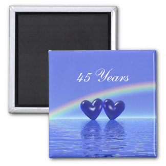 45th Anniversary Sapphire Hearts Square Magnet