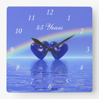 45th Anniversary Sapphire Hearts Square Wall Clock