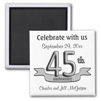 45th Anniversary Save The Date Party Favors Square Magnet