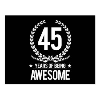 45th Birthday (45 Years Of Being Awesome) Postcard
