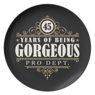 45th Birthday (45 Years Of Being Gorgeous) Party Plate