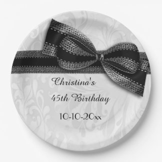 45th Birthday Black Damask and Faux Bow 9 Inch Paper Plate
