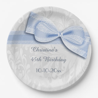 45th Birthday Blue Damask and Faux Bow 9 Inch Paper Plate