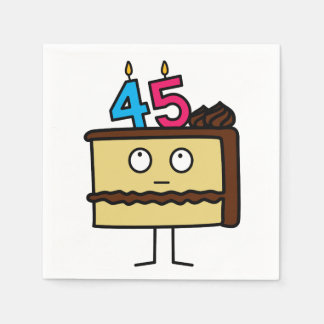 45th Birthday Cake with Candles Disposable Serviettes