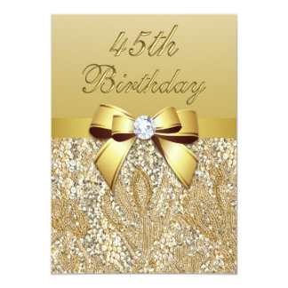 45th Birthday Gold Faux Sequins and Bow Card