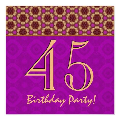 45th Birthday or Any Year Fuchsia and Gold V10 Custom Invitations