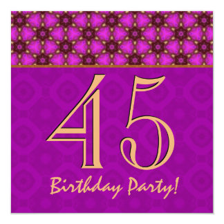 45th Birthday or Any Year Fuchsia and Gold V11 Personalized Announcement