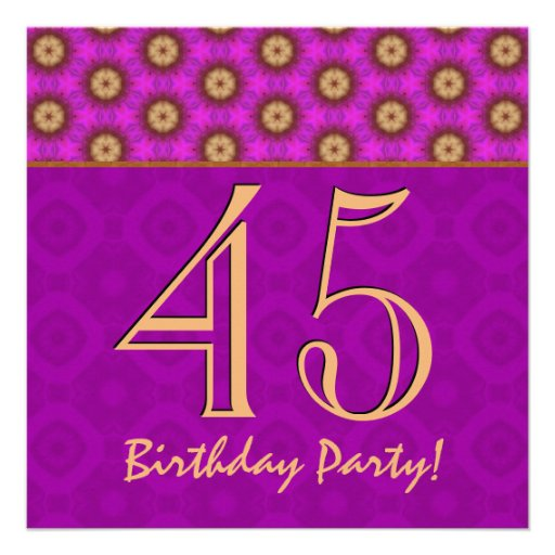 45th Birthday or Any Year Fuchsia and Gold V13 Personalized Invites