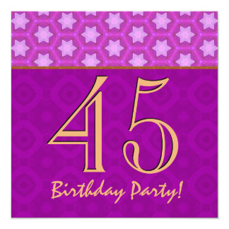 45th Birthday or Any Year Fuchsia and Gold V14 Personalized Invitation