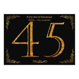 45th Birthday party,Gatsby styl,black gold glitter Card
