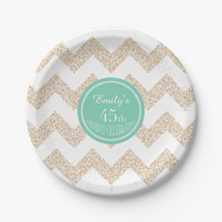 45th Birthday Party Paper Plates - Choose Color 7 Inch Paper Plate