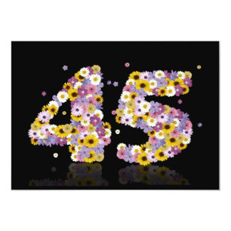 45th Birthday party, with flowered letters Custom Invitations